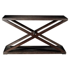 Halifax Console Table - Espresso, Brushed Stainless Steel Accents