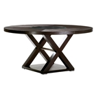 Halifax 60 Round Top Dining Table - Espresso, Glass Insert