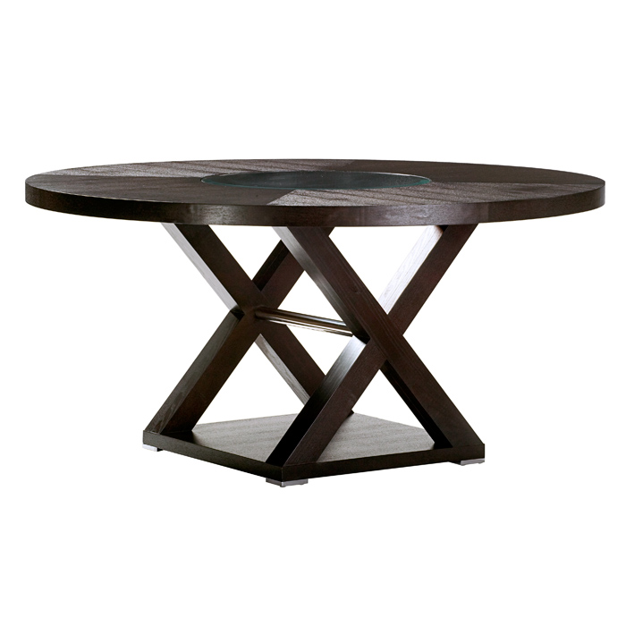 Halifax 60'' Round Top Dining Table - Espresso, Glass Insert
