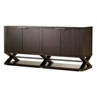 Halifax 4-Door Buffet Table - Espresso, Hidden Drawers