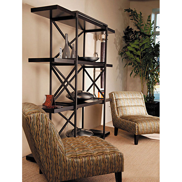 Snowmass 4-Shelf Bookcase - Espresso on Birch, Metal Supports - ACD-3404-10