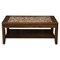 Granada Coffee Table - Brown Merlot, Glass Insert and Shelf - ALP-1437-21