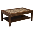 Granada Coffee Table - Brown Merlot, Glass Insert and Shelf