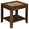 Granada End Table - Glass Insert and Shelf, Brown Merlot