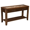 Granada Sofa Table - Brown Merlot, Glass Insert and Shelf