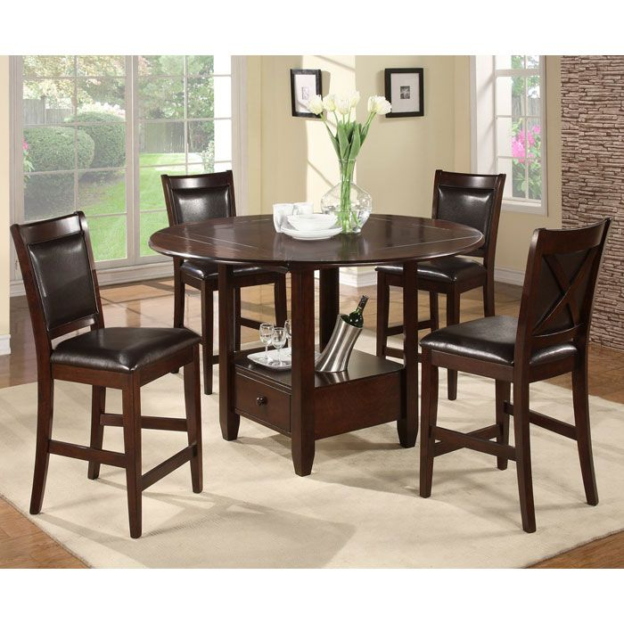 Morgan 5-Piece Drop Leaf Counter Set in Espresso