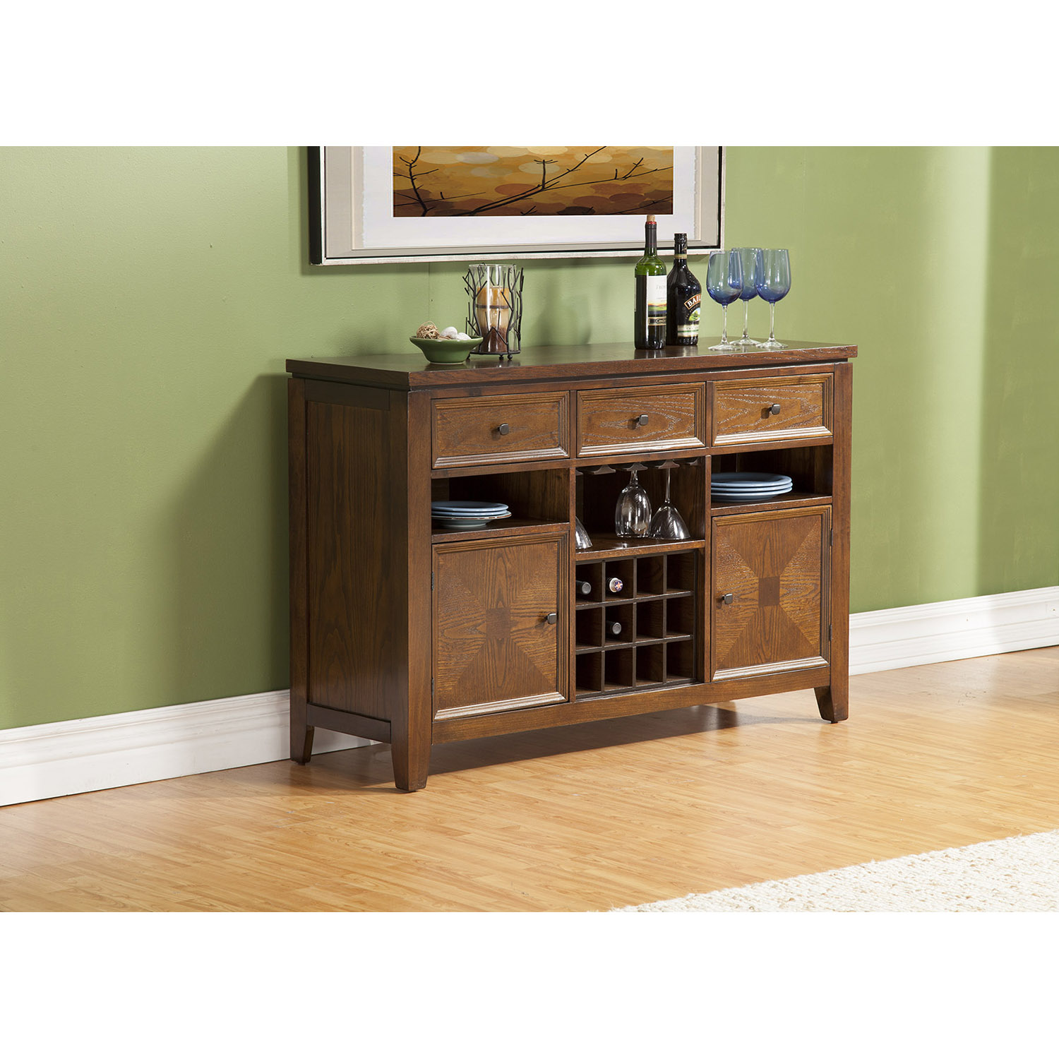 Albany Dark Oak Server - 2 Doors, 3 Drawers, Open Shelves - ALP-4278-06