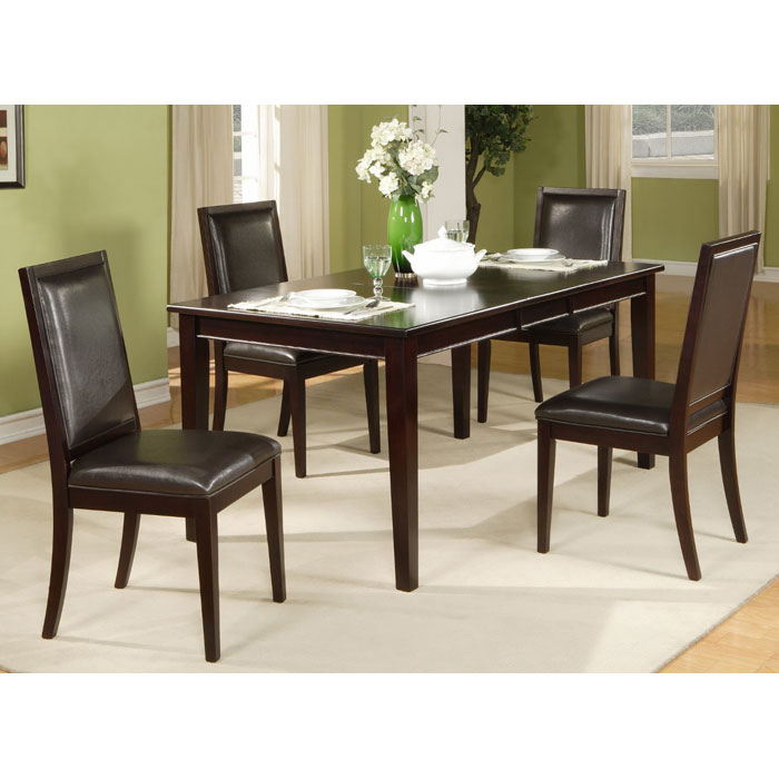 Jackson 5-Piece Extension Dining Set with Leatherette Chairs - Dark Cherry