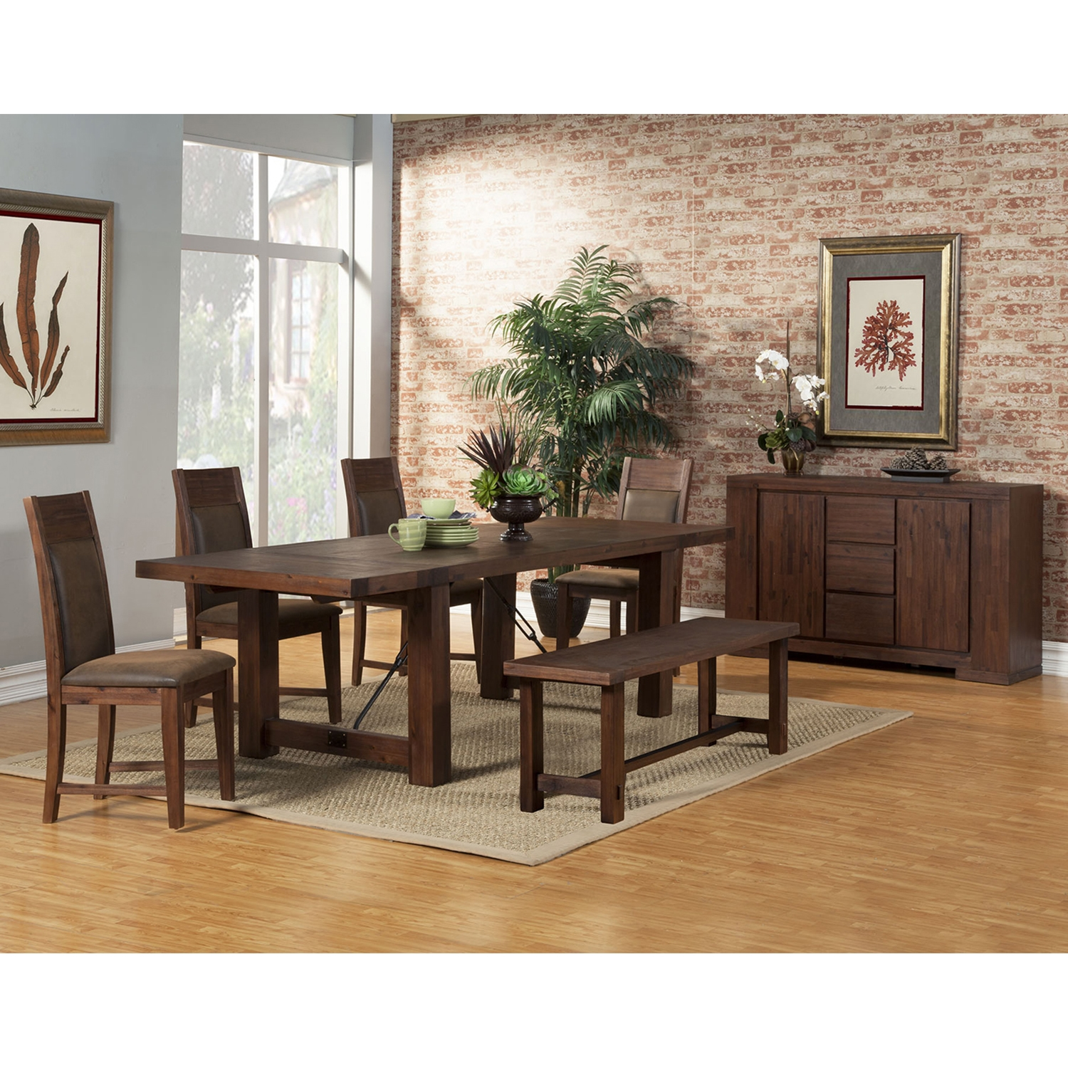 Pierre Dining Table - Antique Cappuccino, Dual Removable Leaves - ALP-8104-01