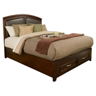 Atherton Bed - Merlot, Faux Leather Headboard, Storage Footboard