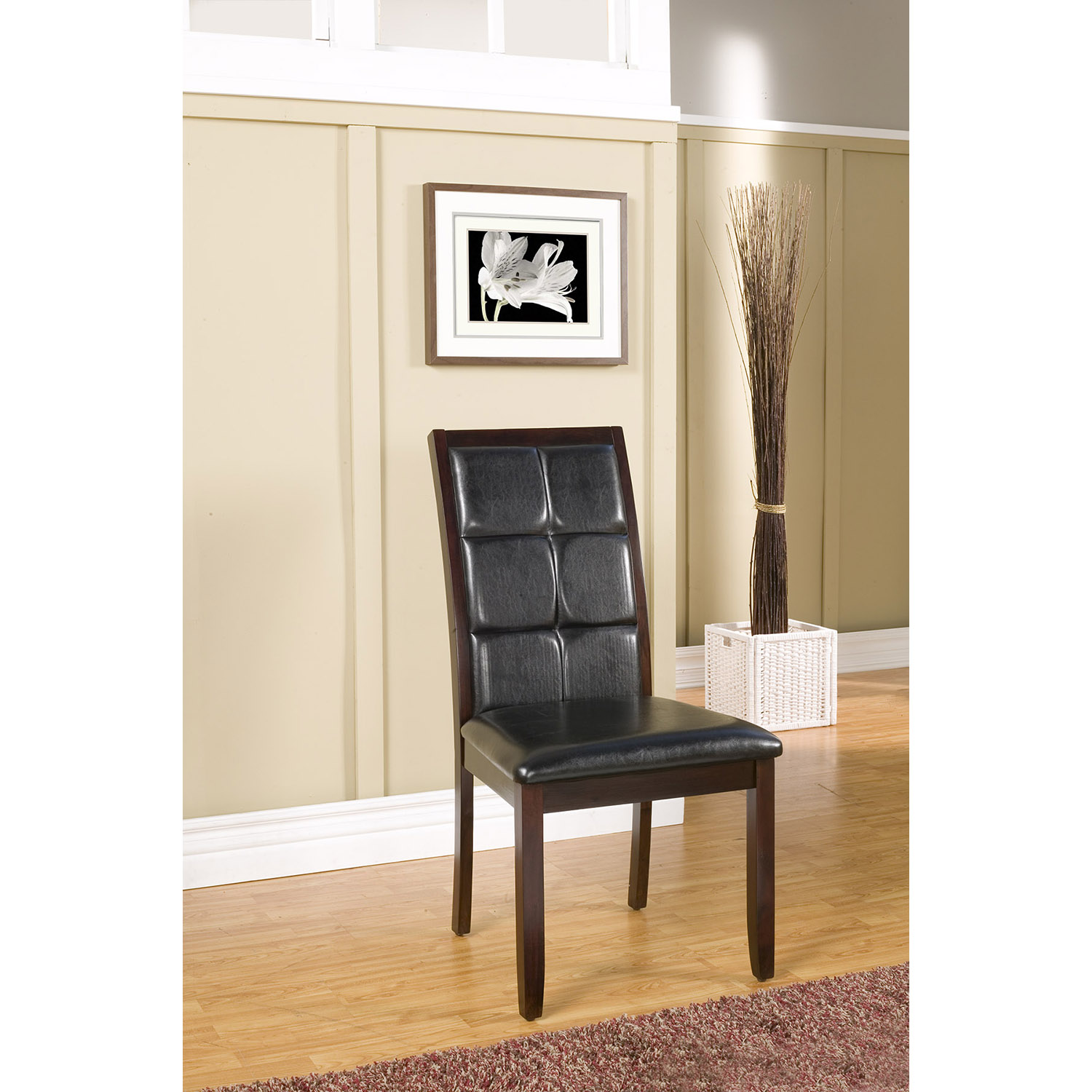 Havenhurst Side Chair - Merlot, Black Faux Leather