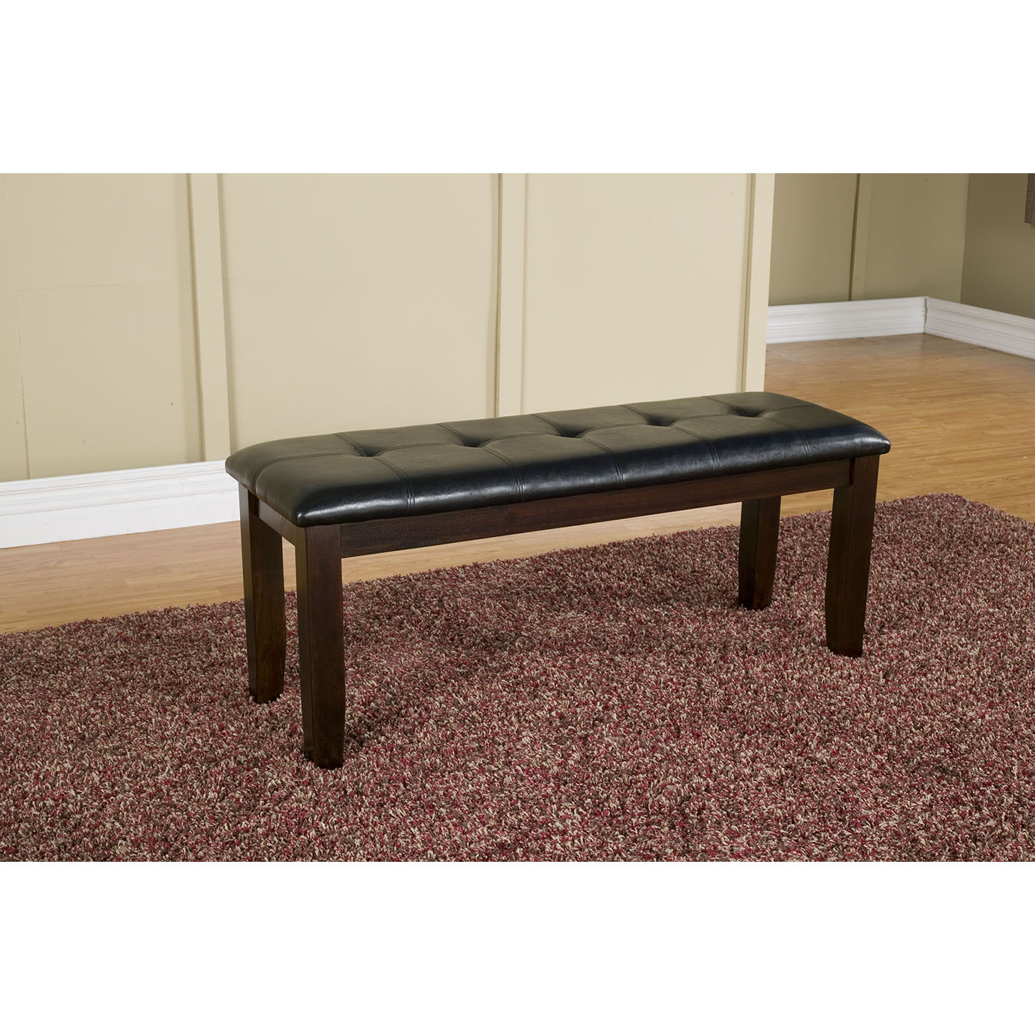 Havenhurst Bench - Merlot Finish, Black Faux Leather Cushion