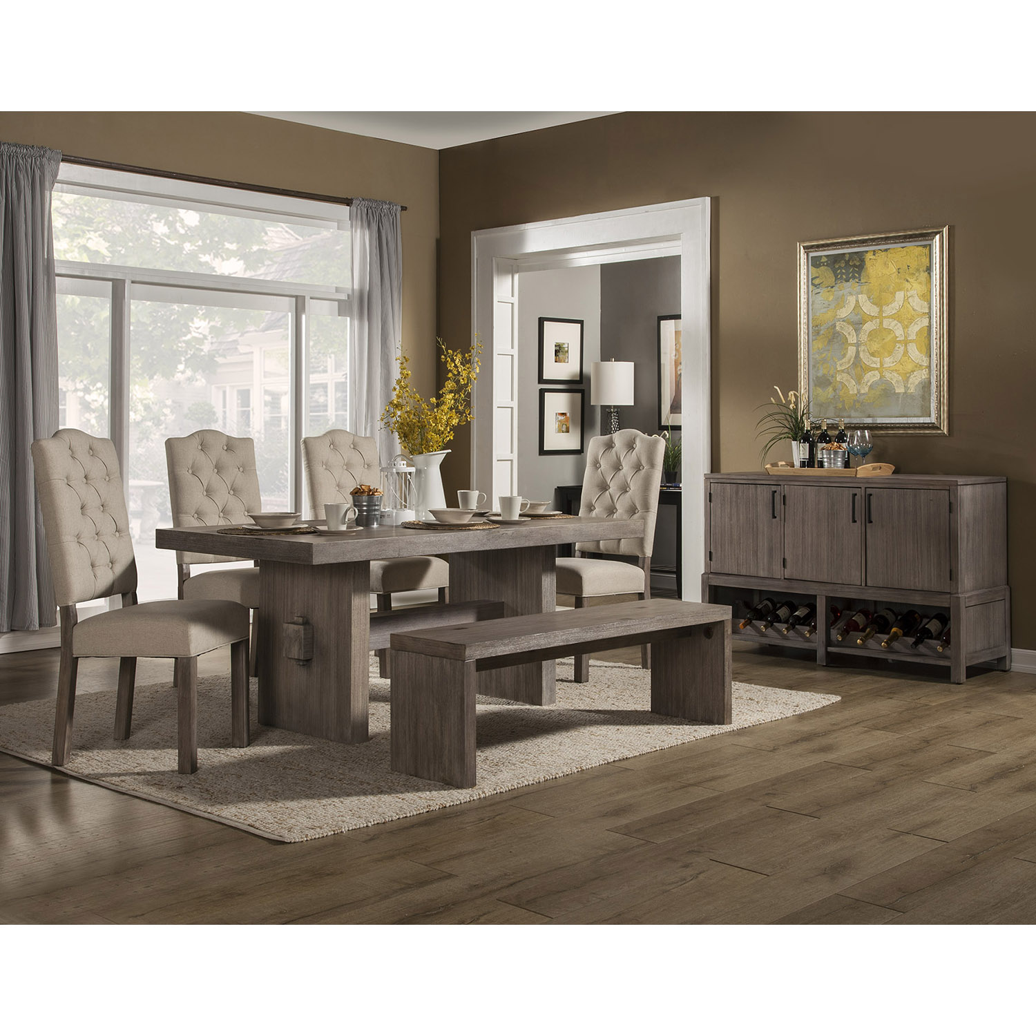Fiji 5-Piece Dining Set - Weathered Gray
