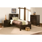 Solana Twin Bedroom Set - Bookcase Headboard, Cappuccino