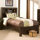 Solana Twin Platform Bed - Bookcase Headboard, Cappuccino