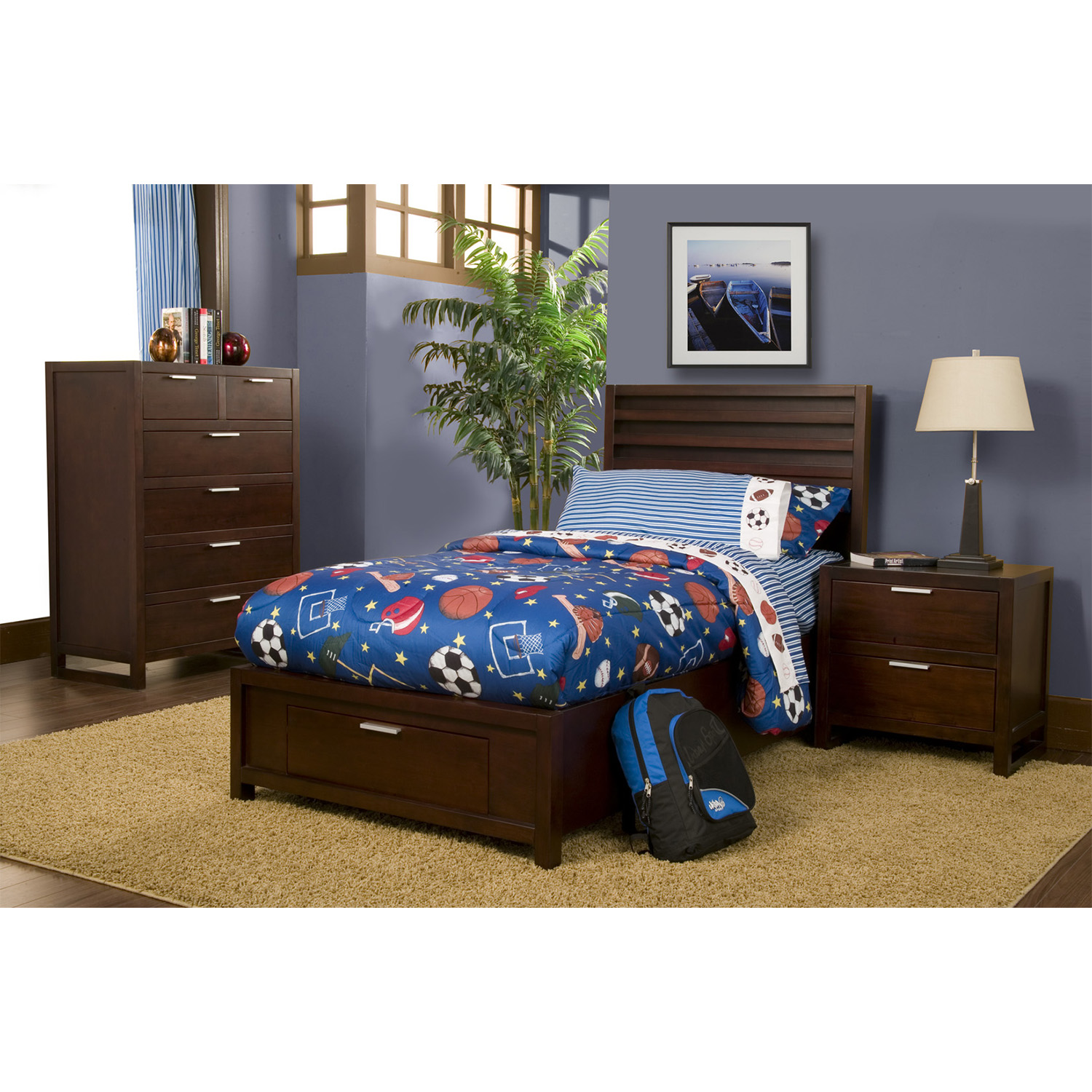 Camarillo Twin Storage Platform Bed Set - Merlot