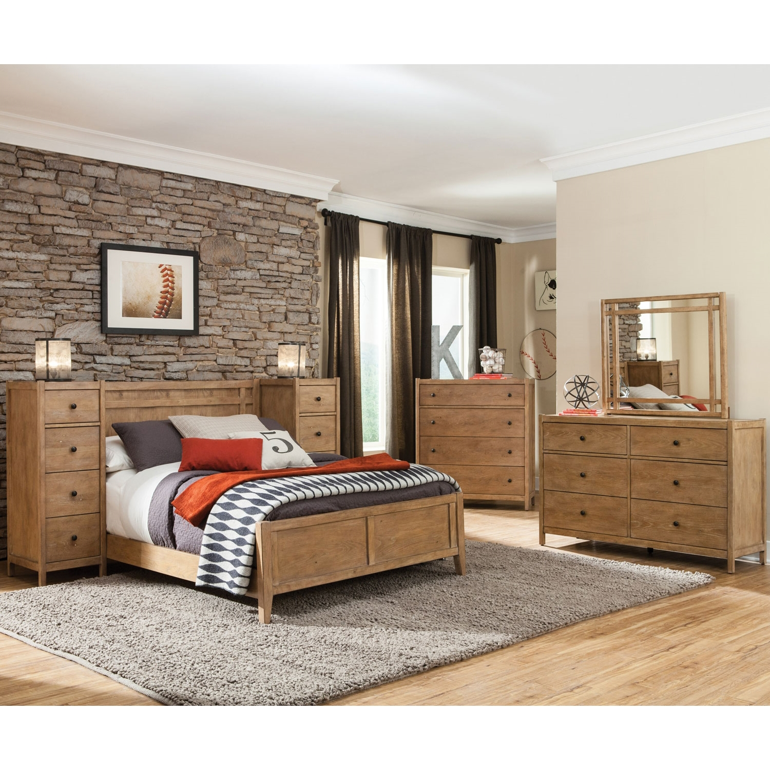 Natural Elements Panel Bed Set - Soft Driftwood with Off-White Glaze - AW-1000-PB-BED-SET