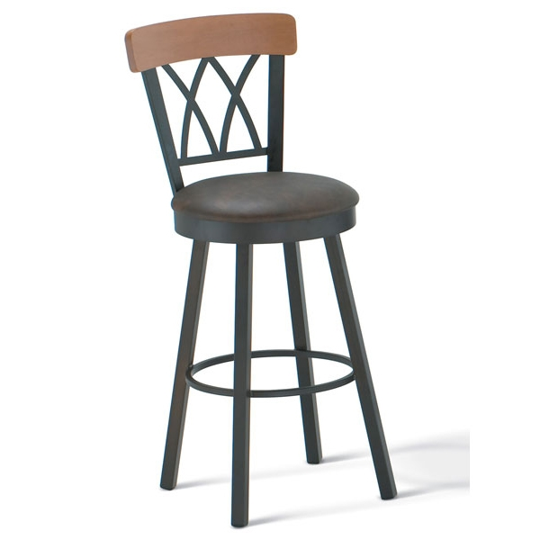 Brittany Wooden Back Swivel Stool - AMIS-41405