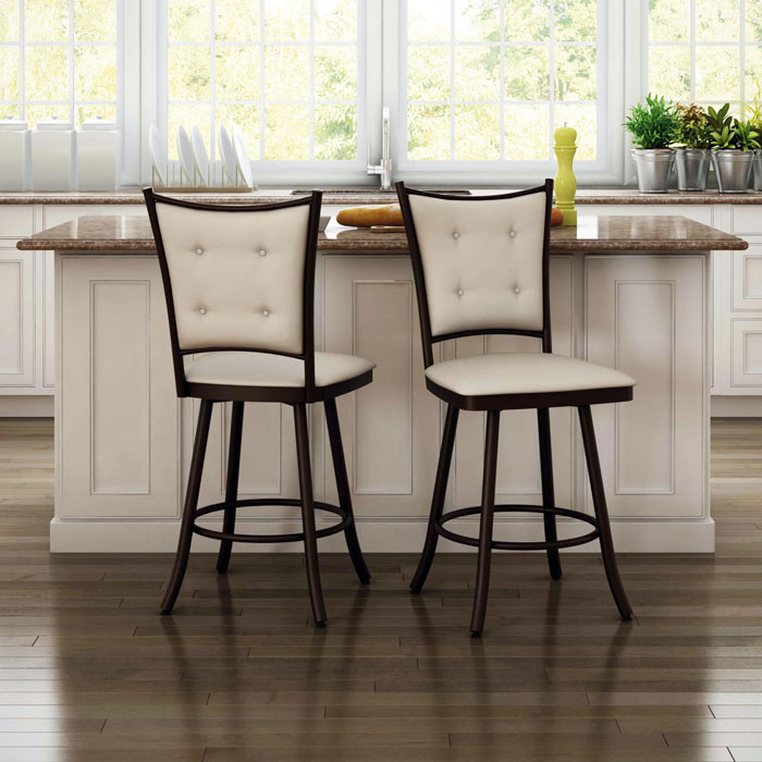 Paula 30'' Bar Stool - Swivel, Button-Tufted - AMIS-41450-30