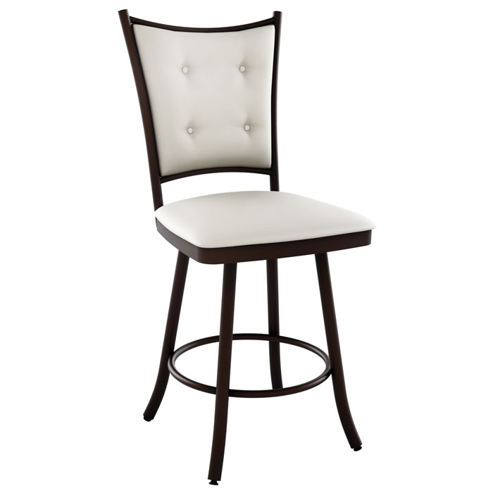Paula 34'' Extra Tall Bar Stool - Swivel, Button-Tufted