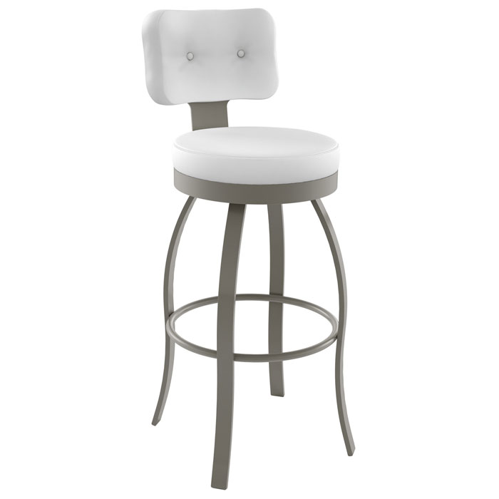 Swan 26'' Counter Stool - Swivel, Round Seat, Button Tufted