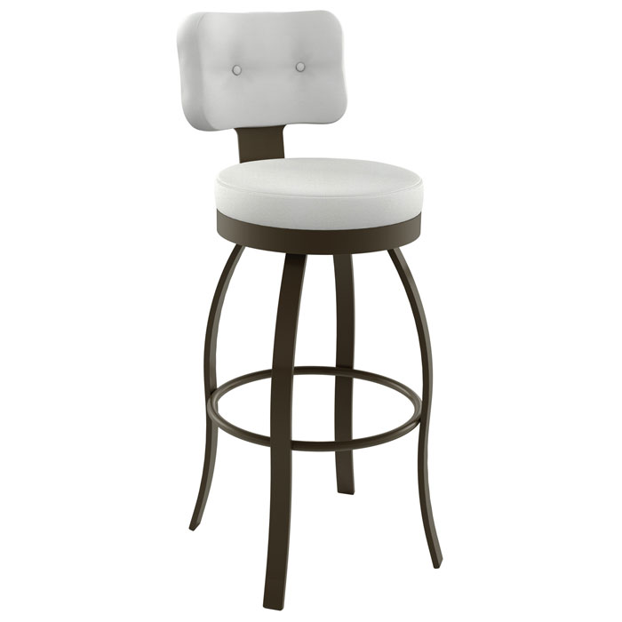 Swan 30'' Bar Stool - Swivel, Round Seat, Button Tufted
