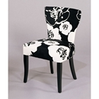 Black and White Floral Side Chair (Set of 2)