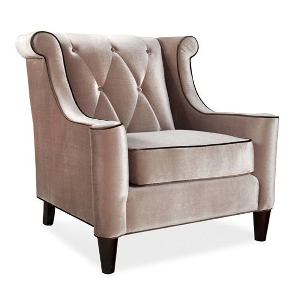Barrister Velvet Fabric Armchair with Button Tufting