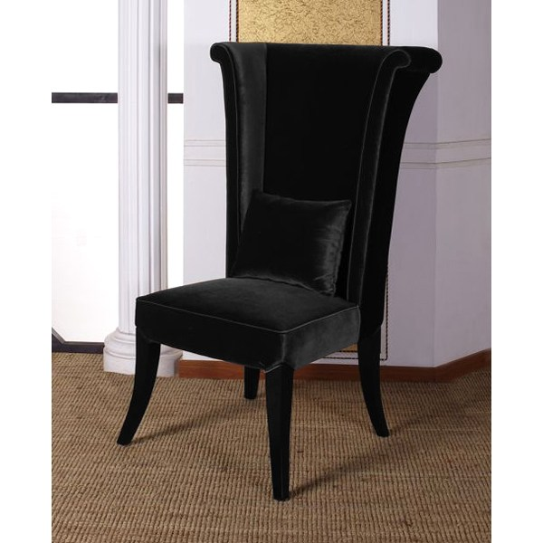 Mad Hatter Dining Chair in Black Velvet Fabric