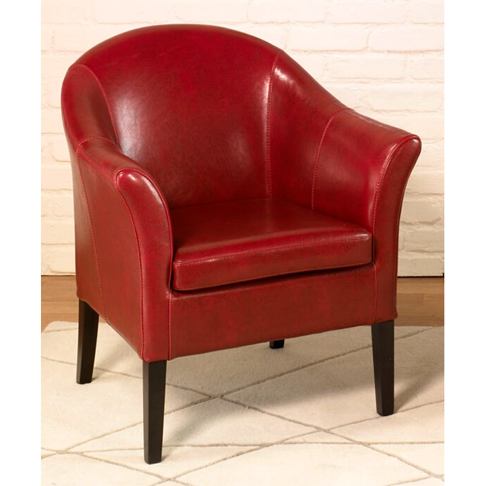 Clementine Red Leather Club Chair
