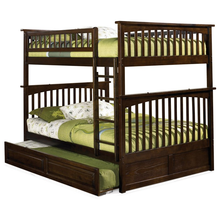 Columbia Full Over Full Slat Bunk Bed w/ Trundle