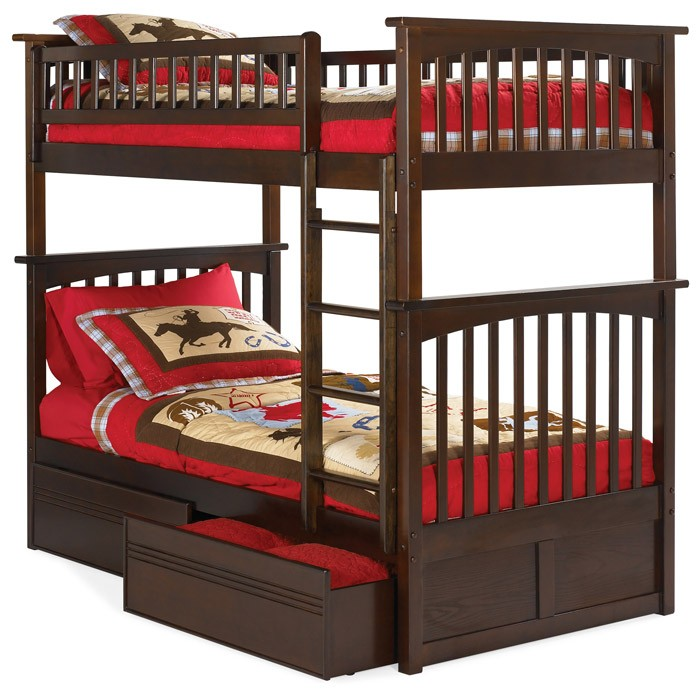 Columbia Twin Over Twin Bunk Bed w/ Flat Panel Drawers - ATL-AB5511