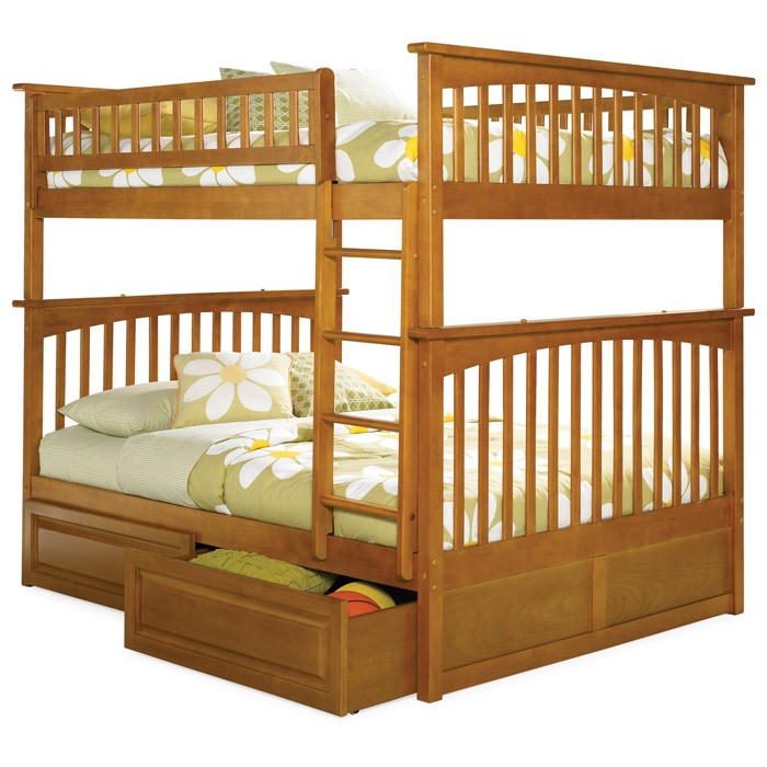 Columbia Full Slat Bunk Bed w/ Raised Panel Drawers - ATL-AB5552
