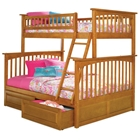 Columbia Bunk Bed w/ Raised Panel Drawers - Twin Over Full