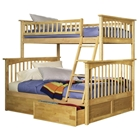 Columbia Bunk Bed w/ Flat Panel Drawers - Twin Over Full