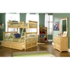 Columbia Wood Bedroom Set w/ Slatted Bunk Bed in Natural Maple