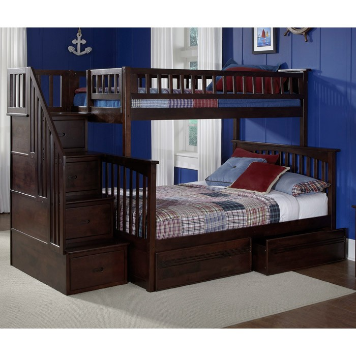 Columbia Staircase Bunk Bed w/ Flat Panel Drawers - Twin Over Full