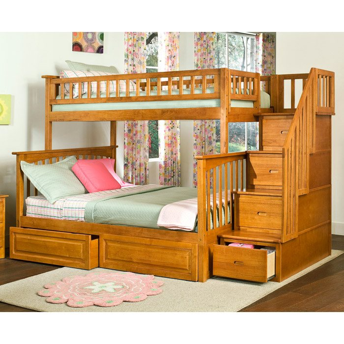 Columbia Staircase Bunk Bed w/ Raised Panel Drawers - Twin Over Full