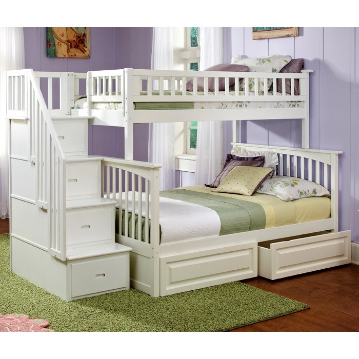 Columbia White Slatted Bunk Bedroom Set w/ Storage Stairs - ATL-CWBBSSS