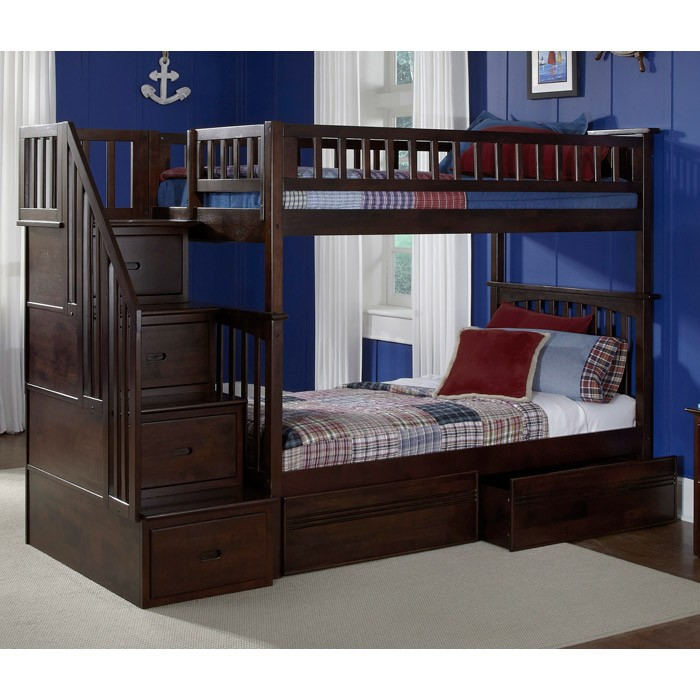 Columbia Stairway Bunk Bed w/ Flat Panel Drawers - Twin - ATL-AB5561