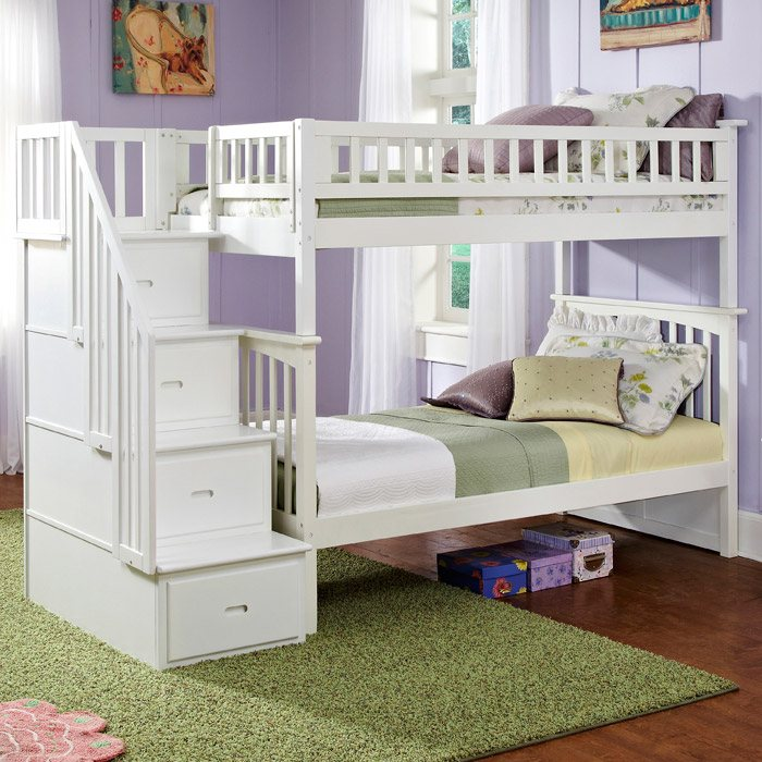 Columbia Twin Over Twin Bunk Bed w/ Storage Stairs