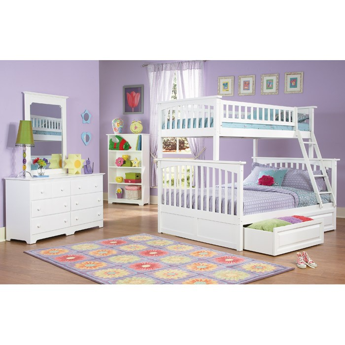 Columbia Bunk Bed w/ Raised Panel Drawers - Twin Over Full - ATL-AB5522