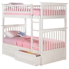 Columbia Twin Over Twin Bunk Bed w/ Raised Panel Drawers