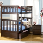 Columbia Wood Bedroom Set w/ Slatted Bunk Bed in Antique Walnut