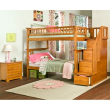 Columbia Caramel Latte Bedroom Set w/ Staircase Bunk Bed