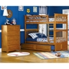 Columbia Wood Bedroom Set w/ Slatted Bunk Bed in Caramel Latte