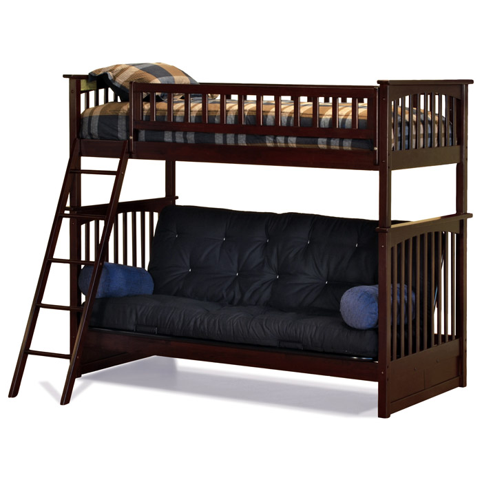 Columbia Twin Bunk Bed Over Full Futon Wood Bedroom Set - ATL-CTOFWBS