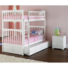 Columbia White Wood Bedroom Set w/ Slatted Bunk Bed