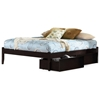 Concord Platform Bed w/ Open Footrail and Flat Panel Drawers in Espresso