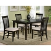 Deco 5 Piece Modern Dining Set w/ Slat Back Chairs